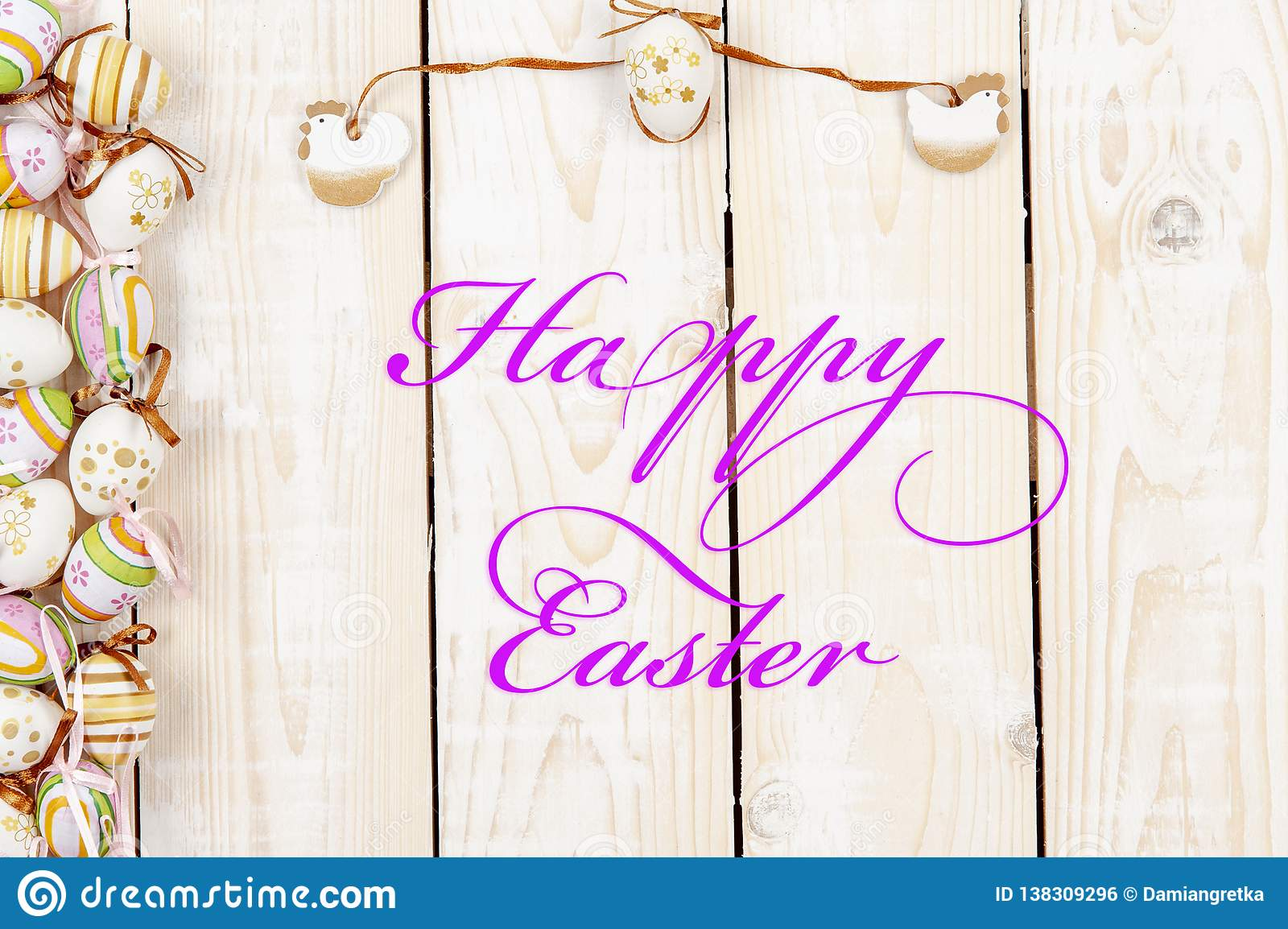 Happy easter background in the pastel color and on the wood