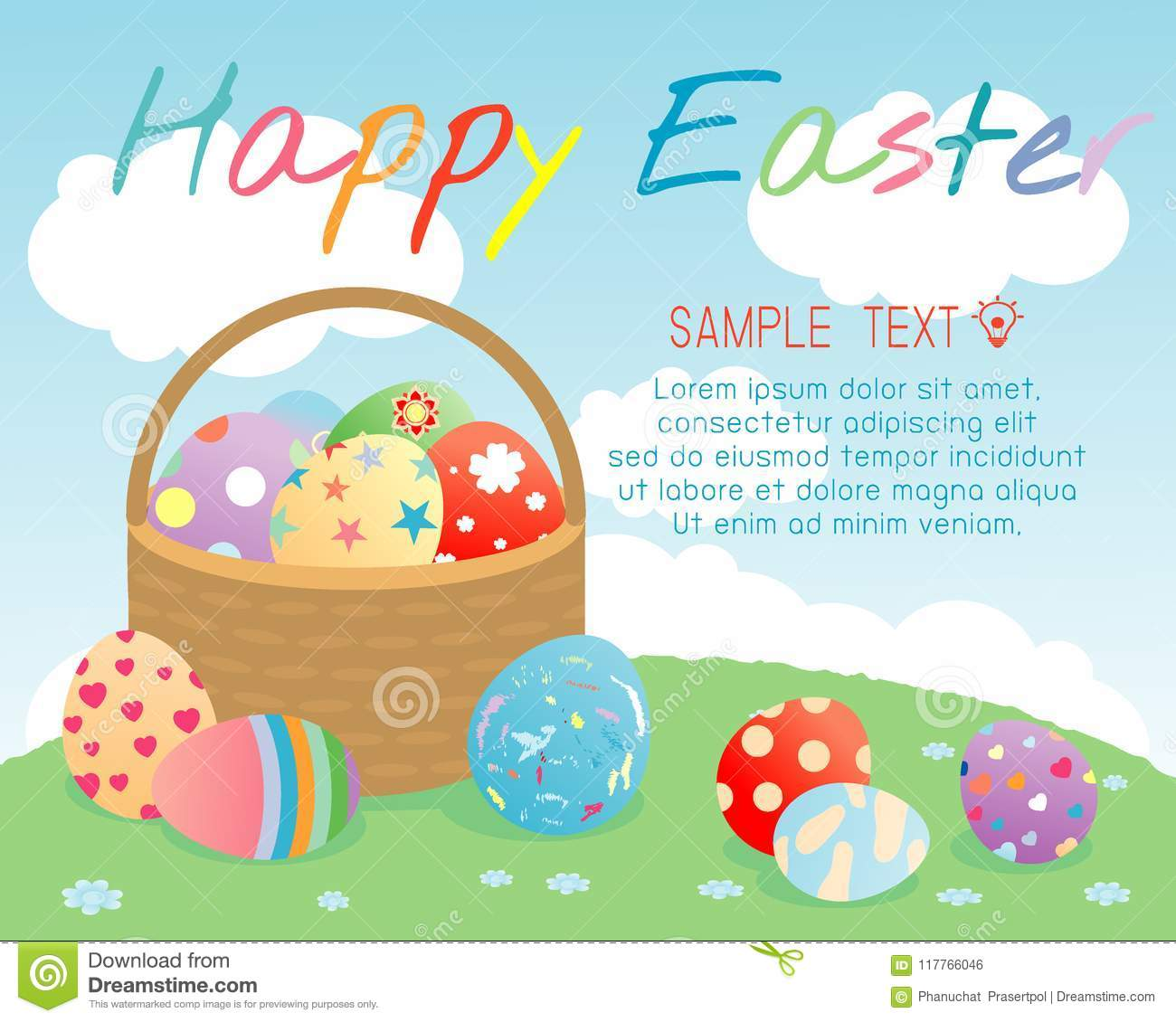 Happy Easter Basket With Color Easter Eggs On Background Greeting