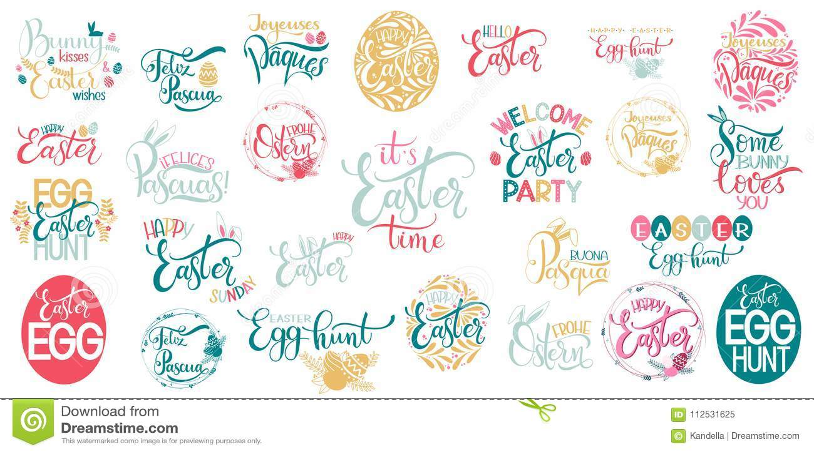 Happy Easter Big Lettering Set Stock Vector Illustration Of Card