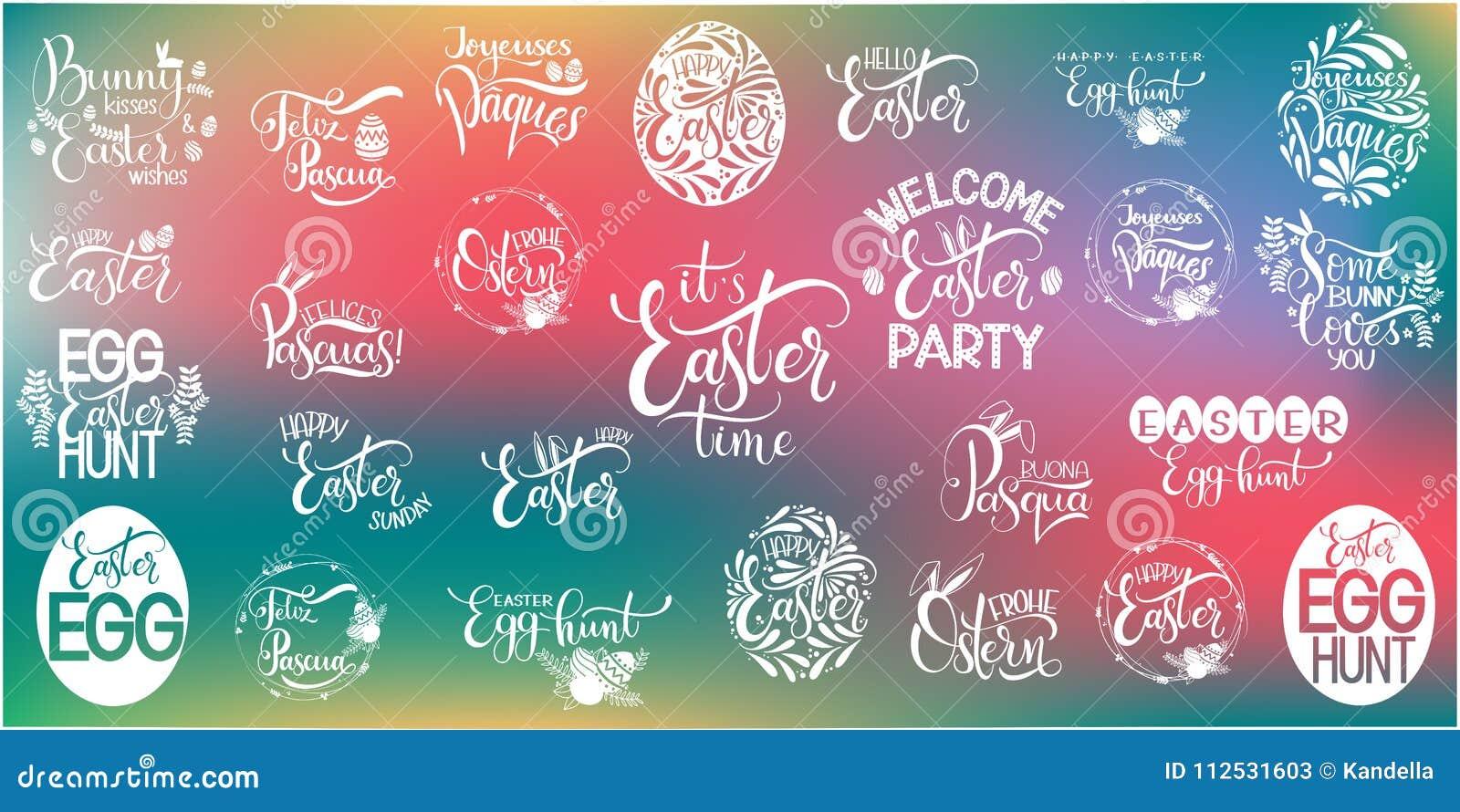 Happy Easter Big Lettering Set Stock Vector Illustration Of Love