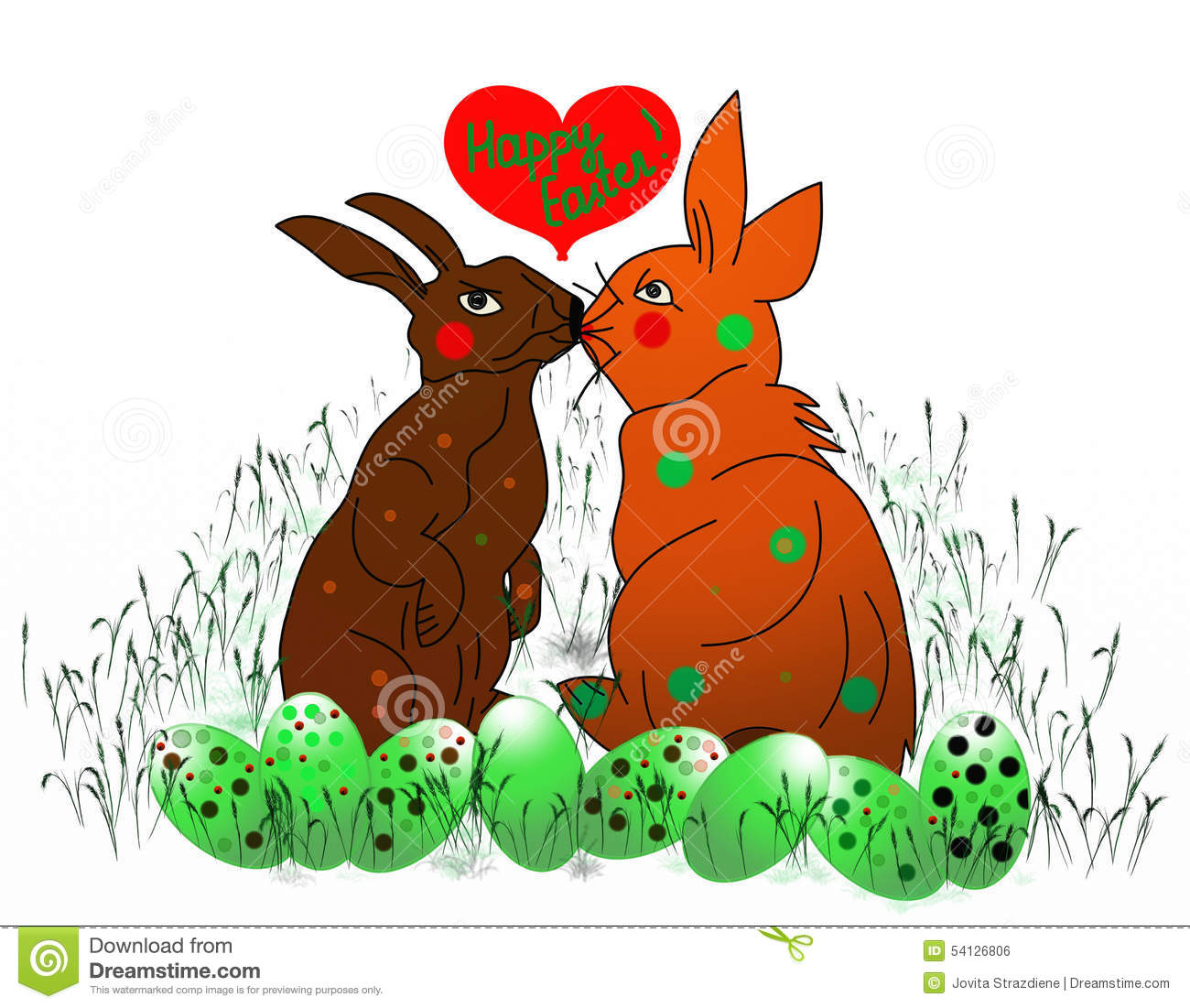 Two Easter Bunnys Kissing 72