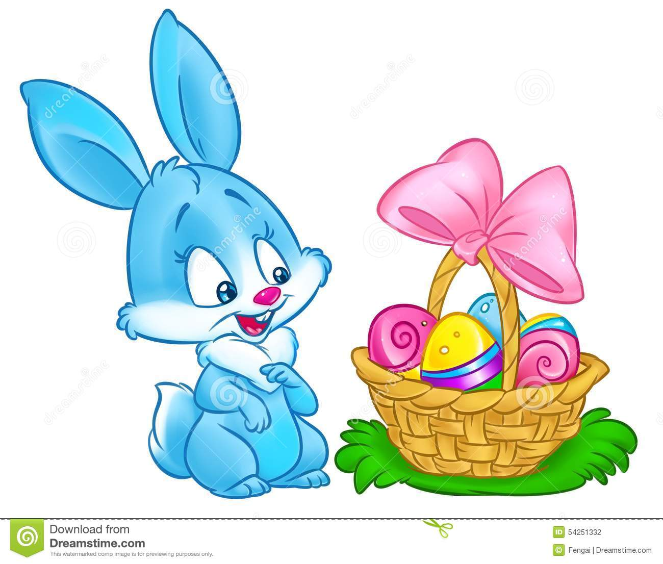 Happy Easter Bunny Basket Eggs Cartoon Illustration Stock ...