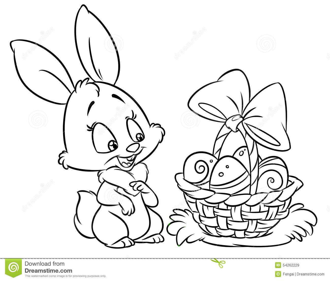 Happy Easter Bunny Coloring Pages Cartoon Illustration Stock ...