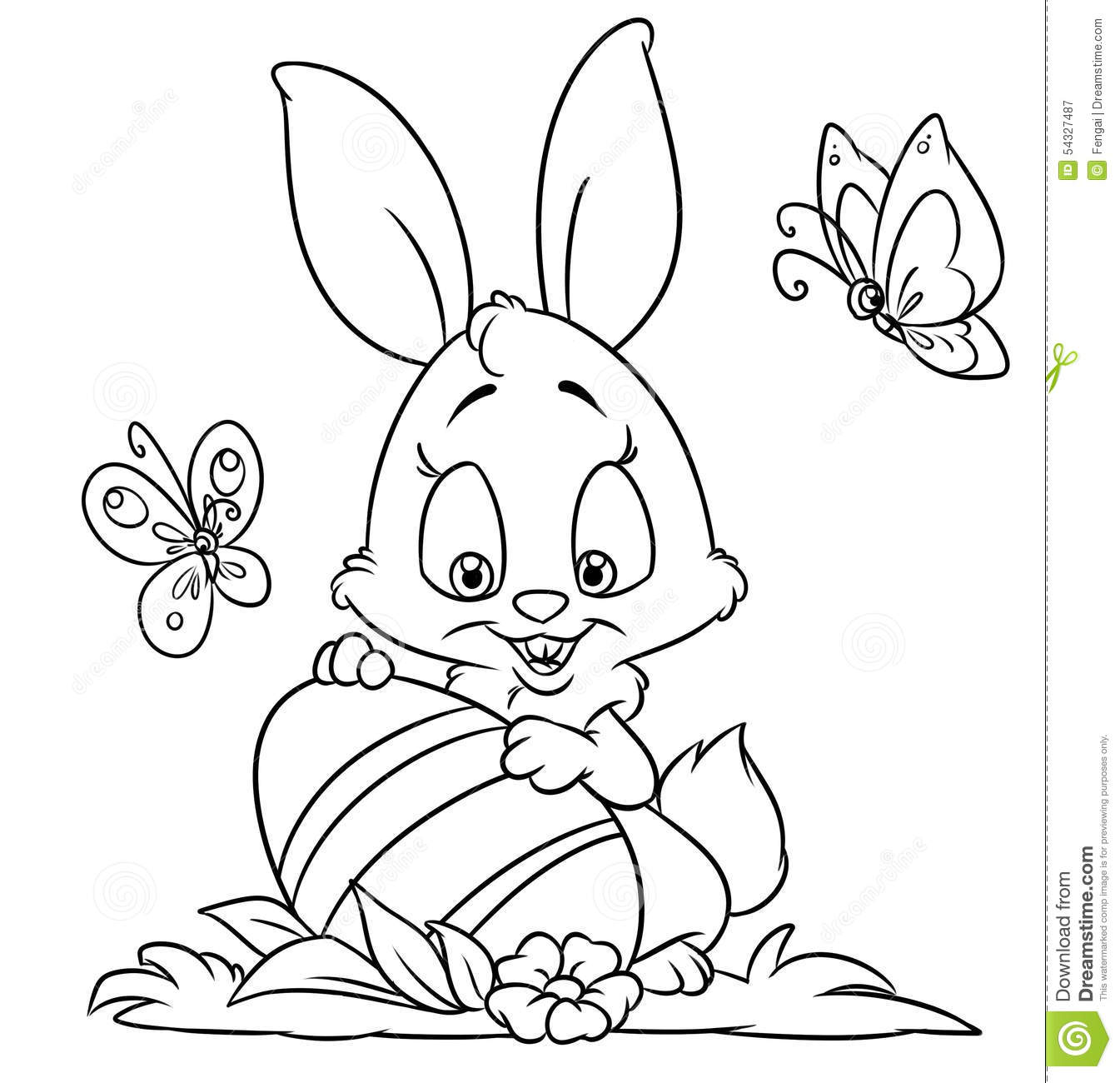 Happy Easter Bunny Coloring Pages Stock Illustration - Illustration ...