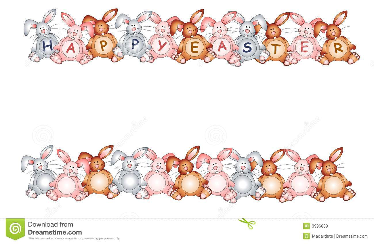happy easter bunny rabbit borders royalty free stock images