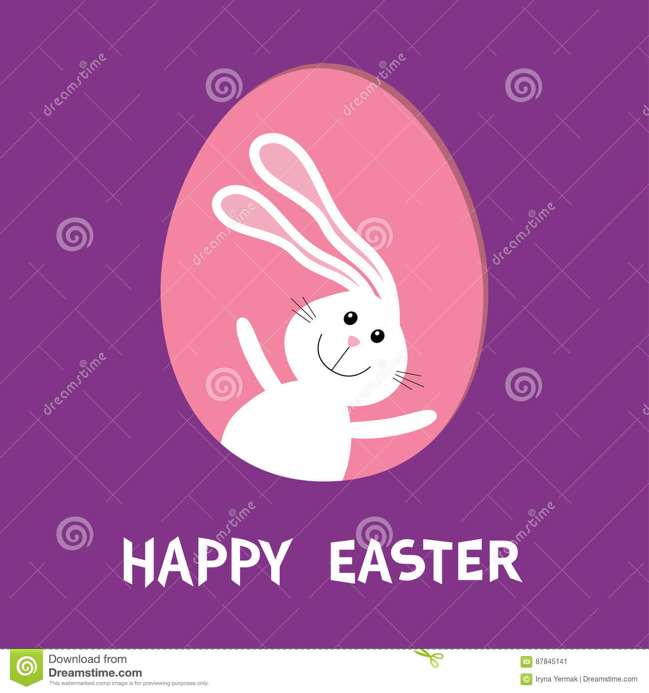 Happy Easter Bunny Rabbit Hare With Big Ears Inside Painted Egg Frame Window Cute Cartoon Character Baby Greeting Card Violet