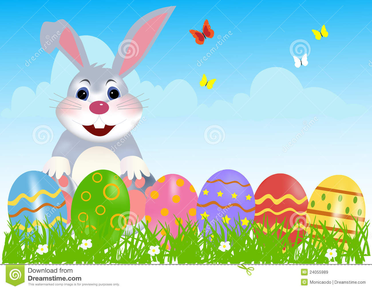 Happy Easter Bunny Width Eggs Royalty Free Stock Images - Image ...