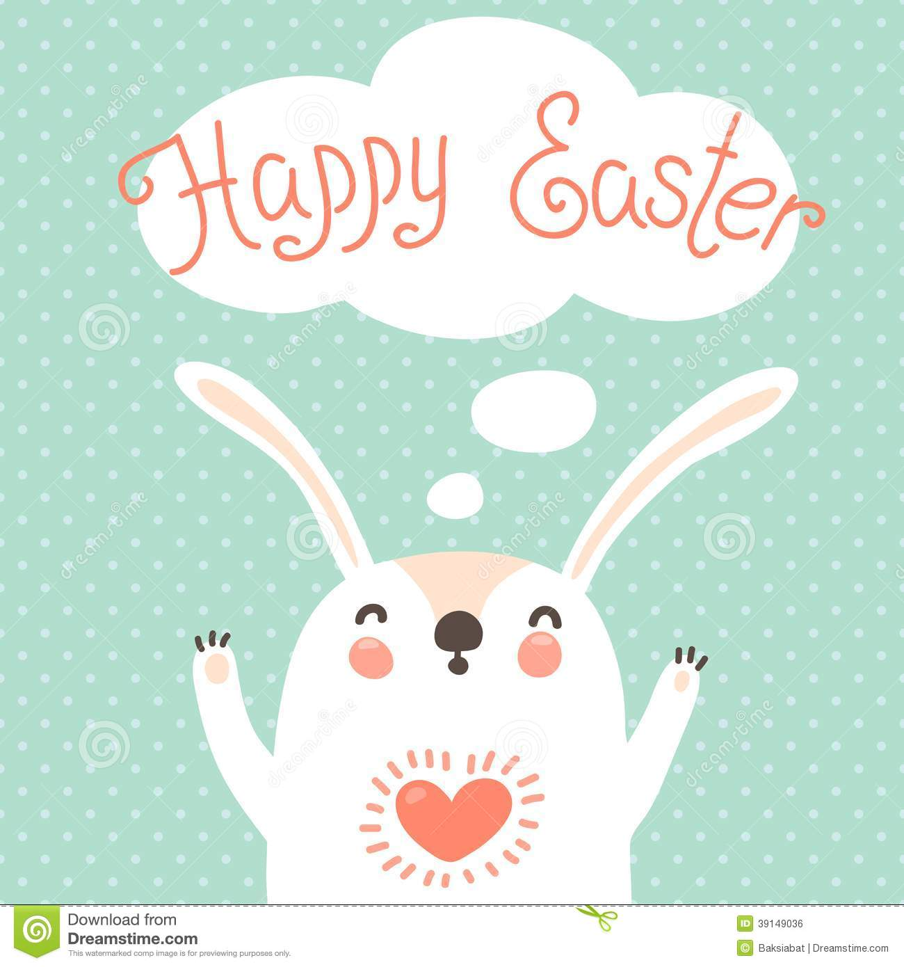 Happy Easter Card With Cute Bunny. Stock Vector - Image: 39149036