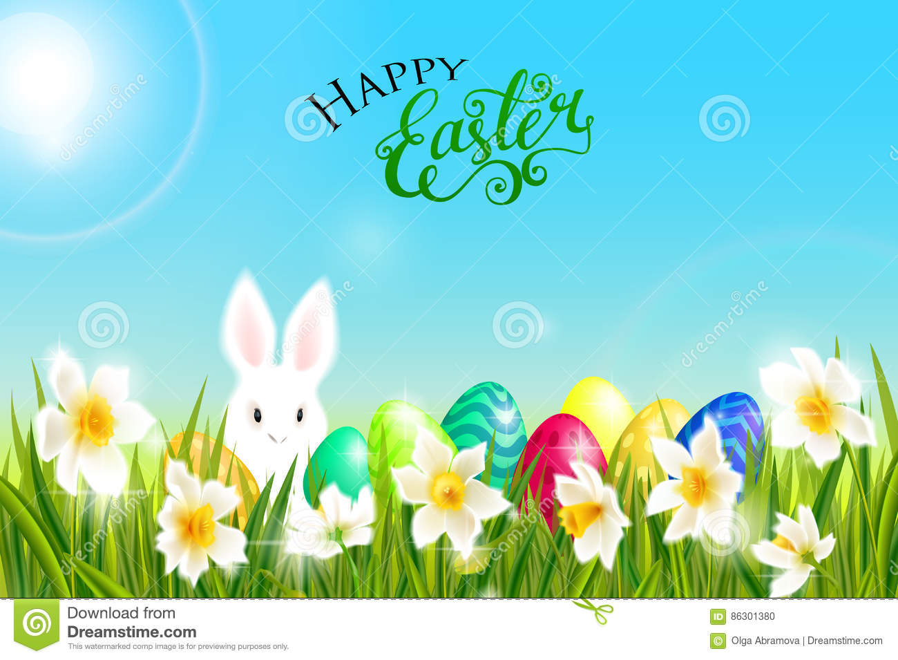 Happy easter card with eggs rabbit spring flowers green grass and happy easter card with eggs rabbit spring flowers daffodil narcissus green grass and blue sky lettering calligraphy vector illustration eps10 mightylinksfo