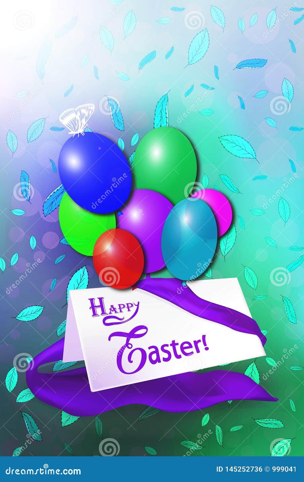 Happy Easter Card Stock Illustration Illustration Of