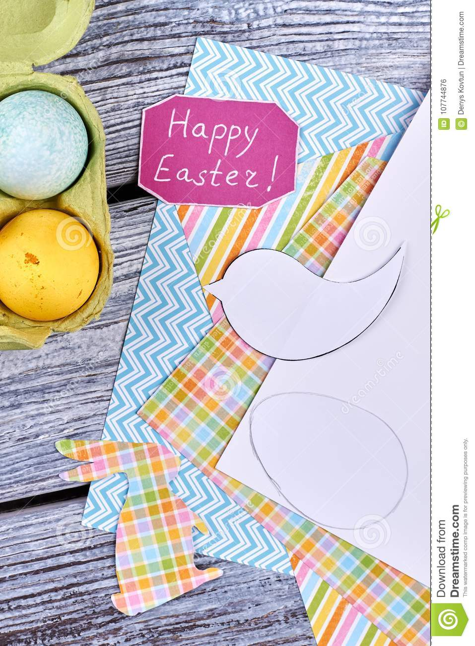 Happy Easter Card And Patterned Paper Stock Photo Image Of