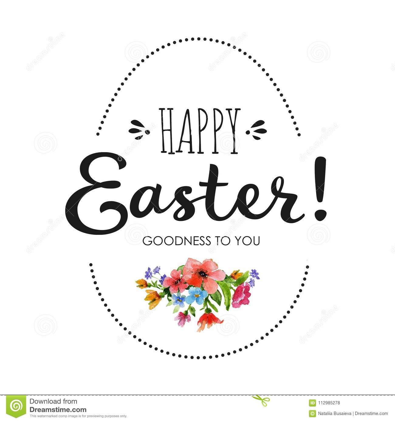 Happy Easter card with watercolor flowers ,lettering and egg frame