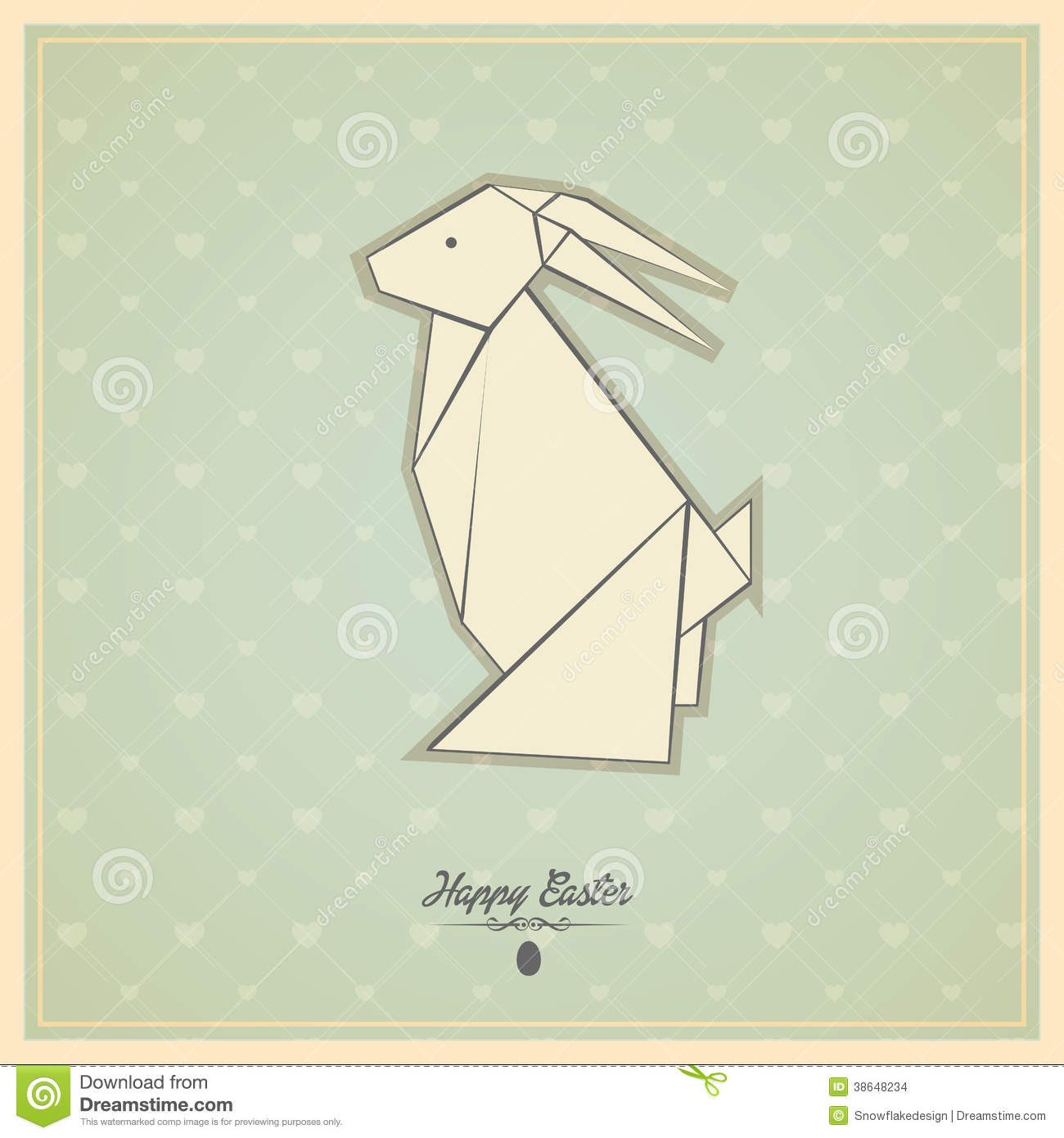 Happy Easter Cards With Origami Bunny Stock Illustration