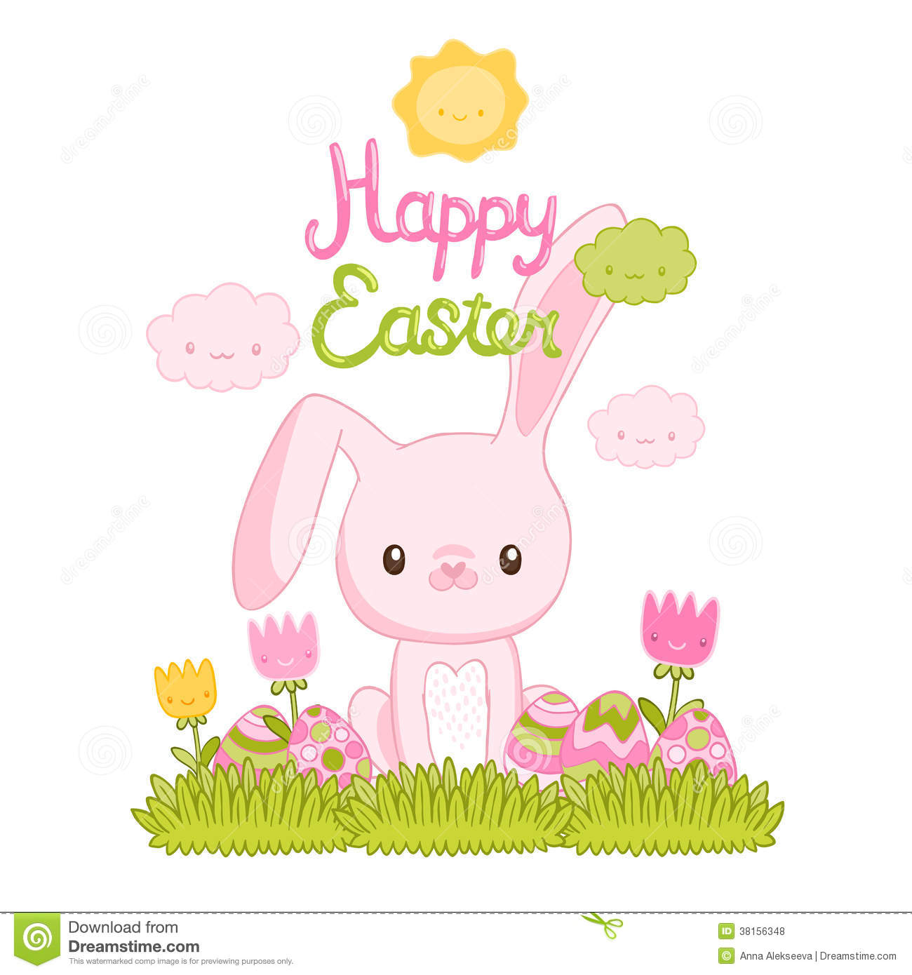 Happy Easter Cartoon Cute Bunny And Eggs Royalty Free ...