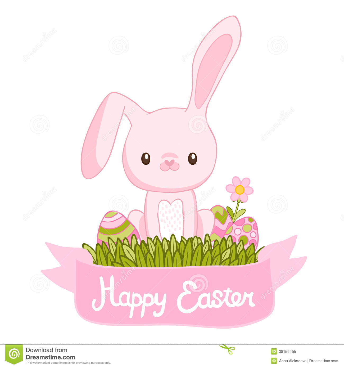 Happy Easter Cartoon Cute Bunny And Eggs Stock Vector ...