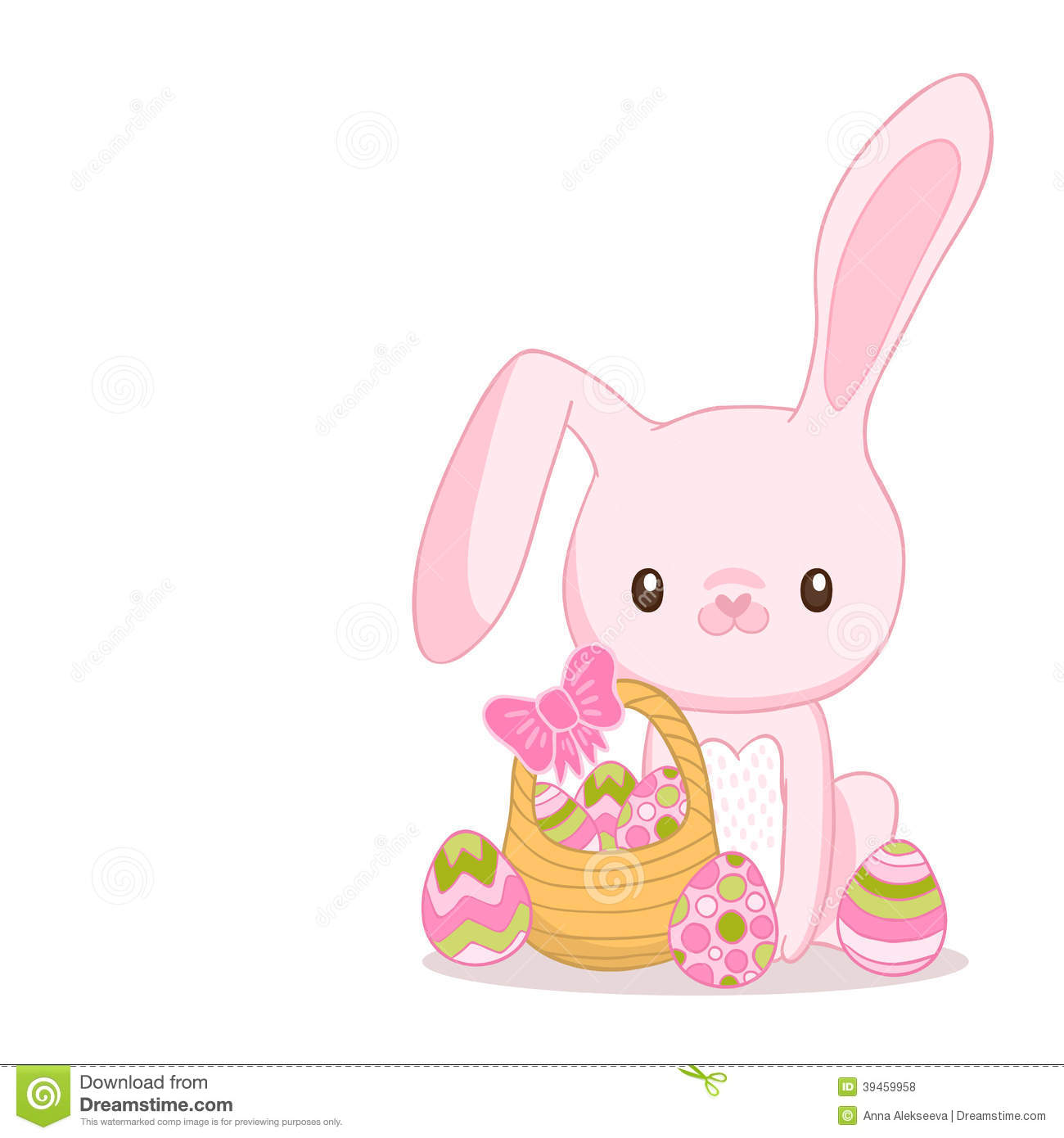Happy Easter Cartoon Cute Bunny And Eggs. Stock Vector ...