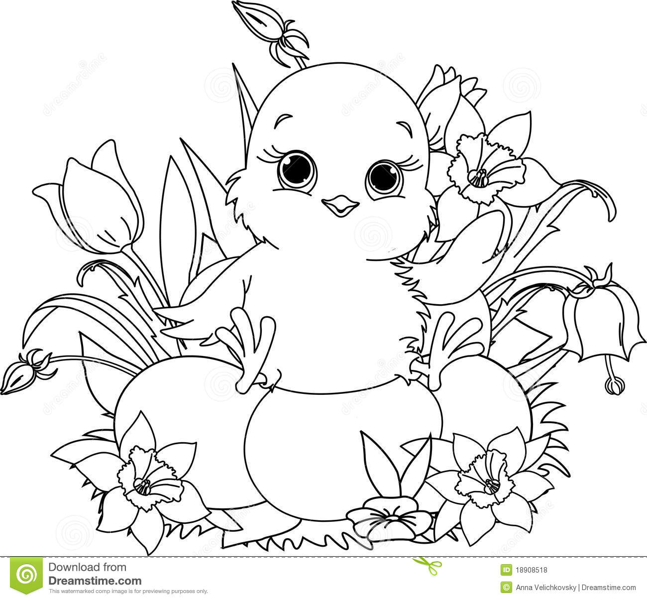 Happy Easter Chick. Coloring Page Stock Vector - Illustration of ...