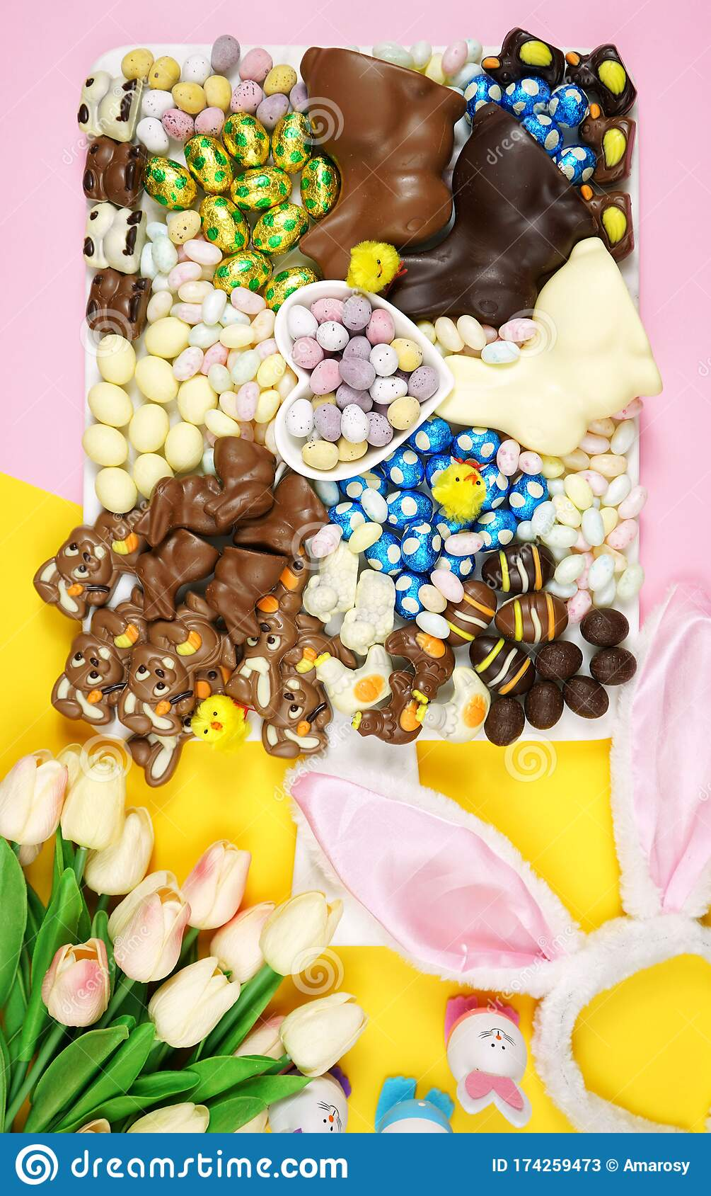 Happy Easter Chocolate And Candy Eggs And Bunnies Grazing Platter Stock Image Image Of Chocolate Flowers 174259473