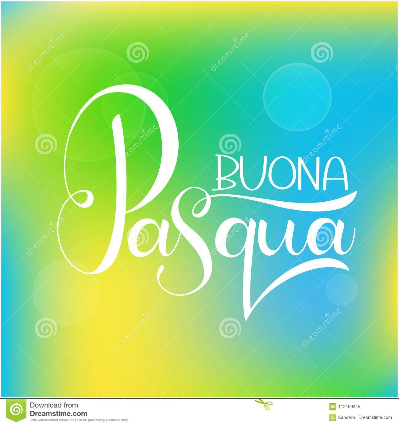 Happy Easter Colorful Lettering In Italian Stock Vector