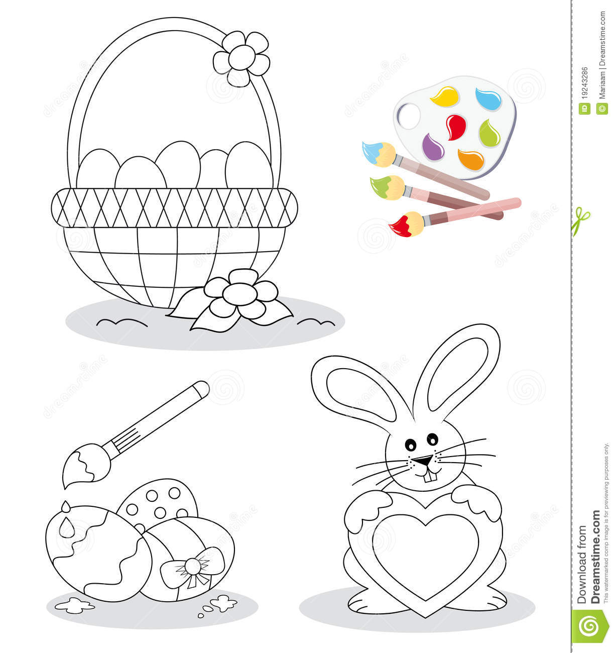 Happy easter coloring book sketches with a basket full of eggs, three ...