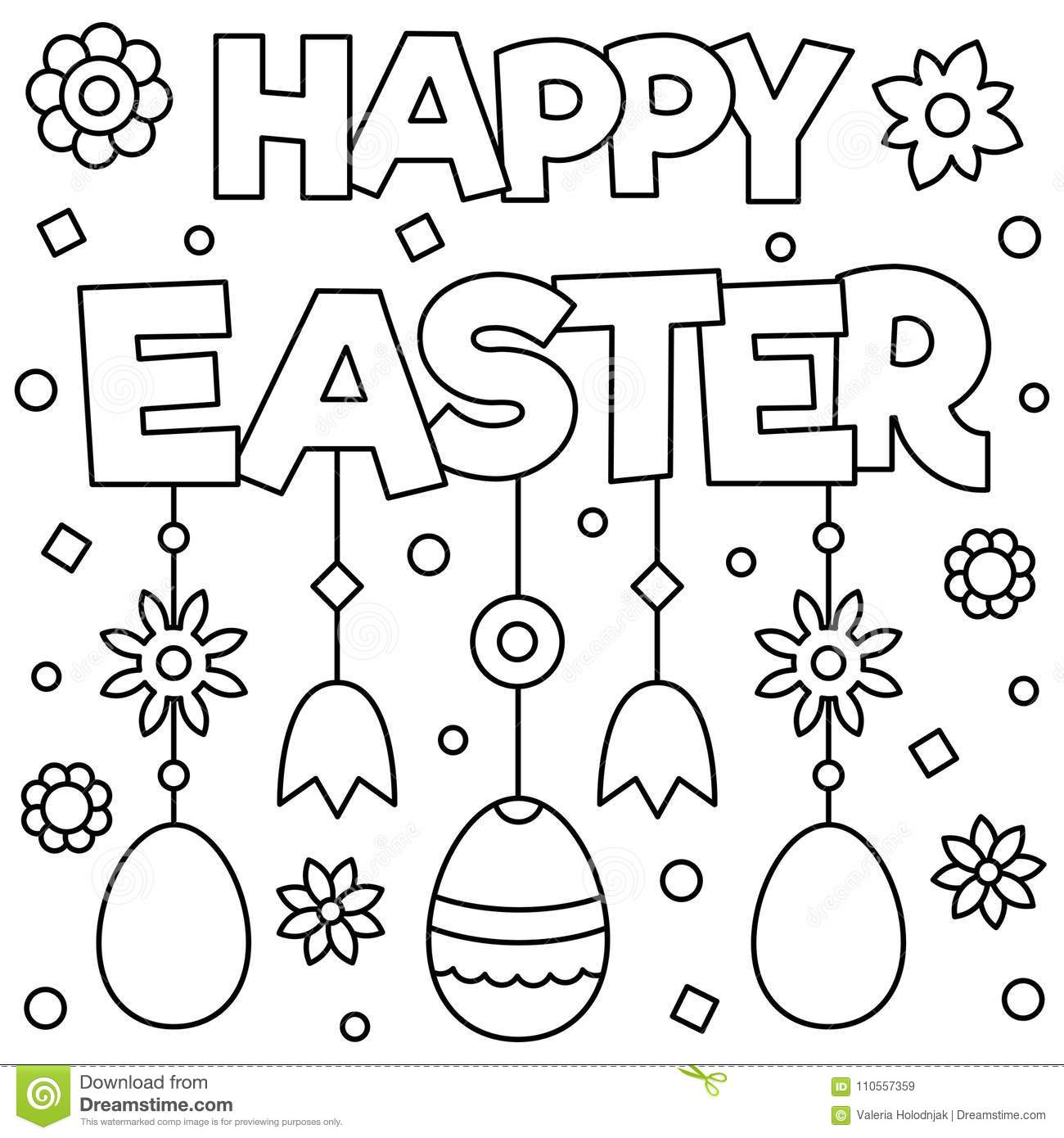 Happy Easter Coloring Page Vector Illustration Stock Vector Illustration Of Easter Kids 110557359
