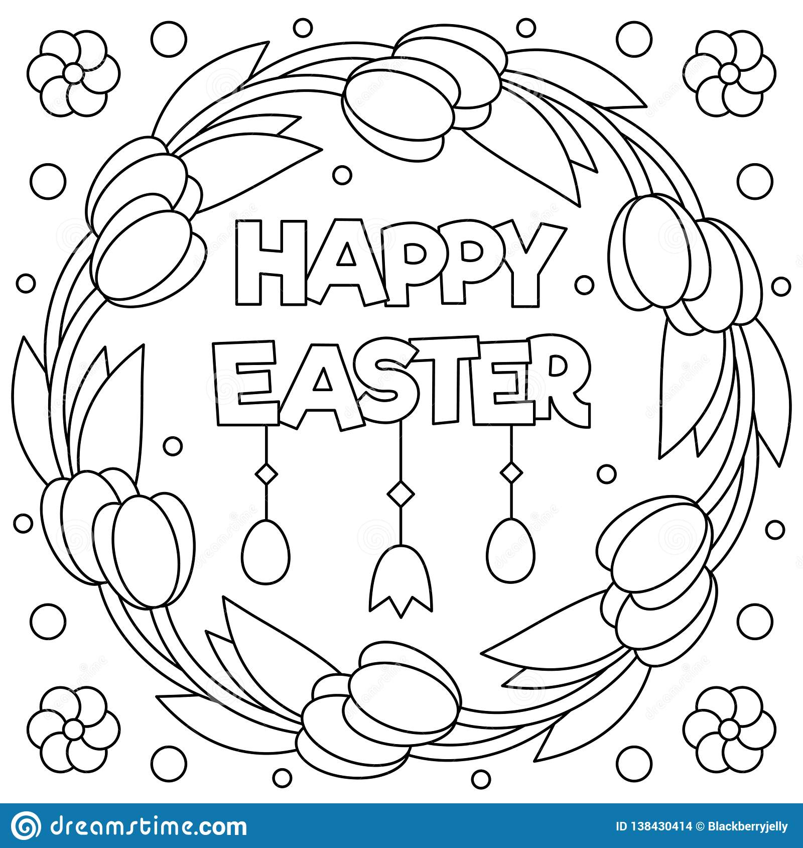 Happy Easter. Coloring Page. Wreath. Vector Illustration ...