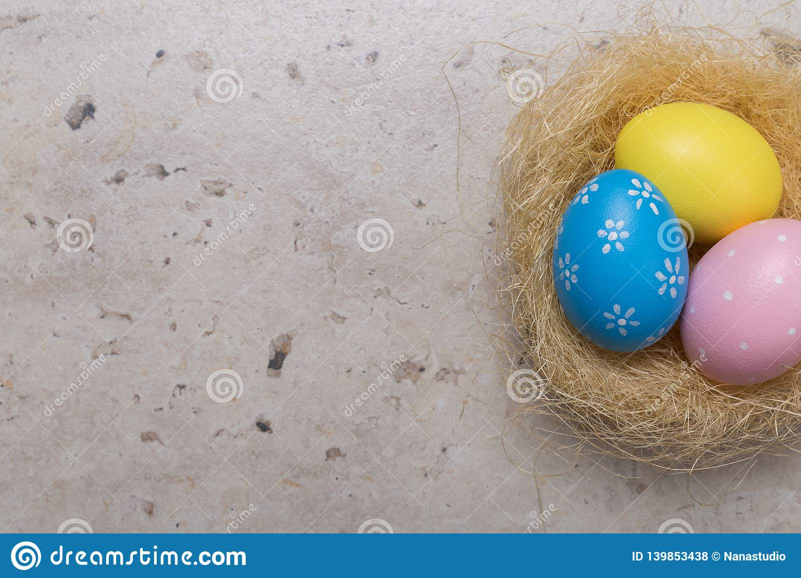 Happy Easter concept background.Easter eggs on table