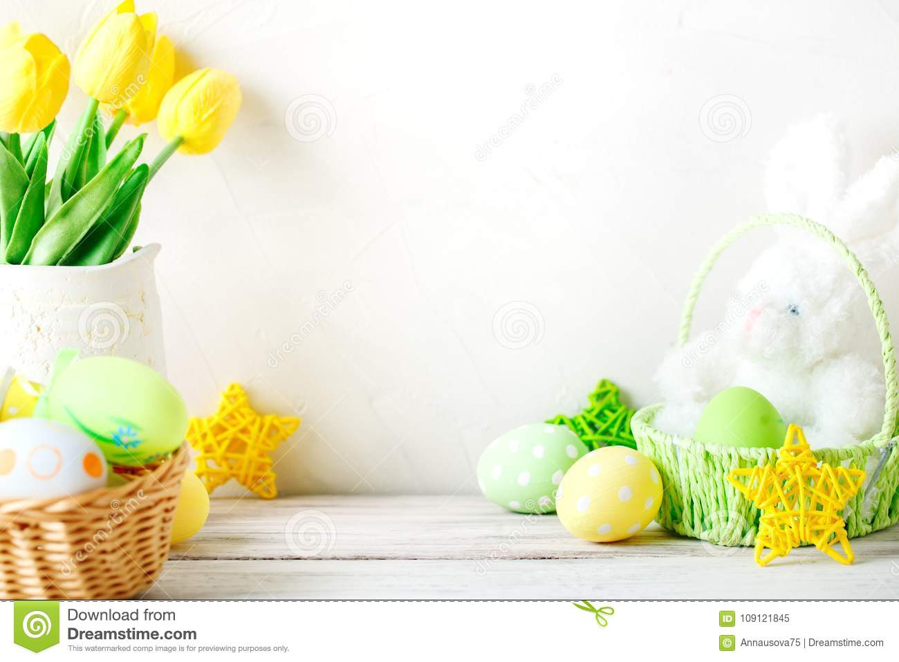 Happy Easter. Congratulatory easter background. Easter eggs and rabbit.
