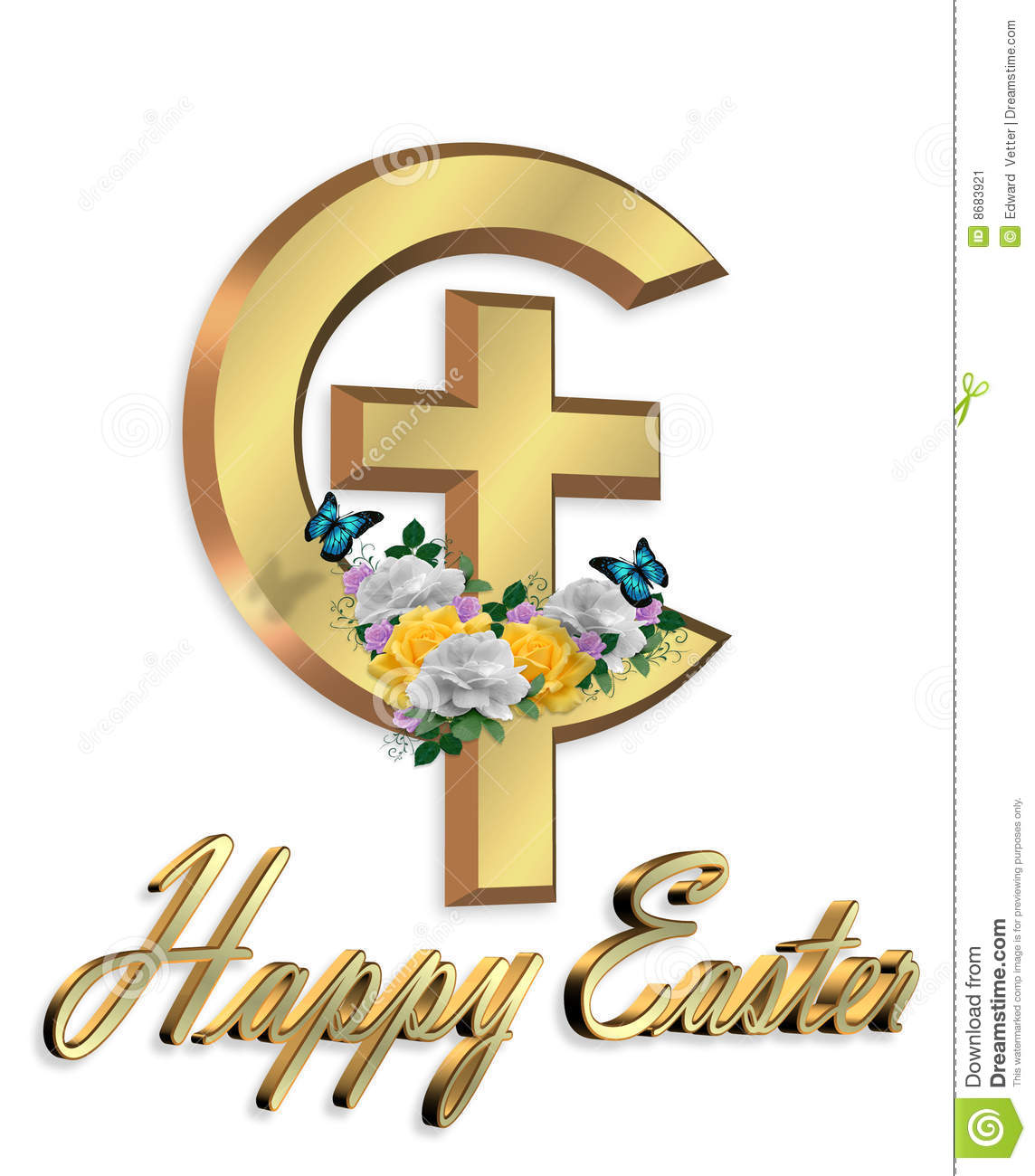 Happy Easter Cross Happy easter cross 3d graphic