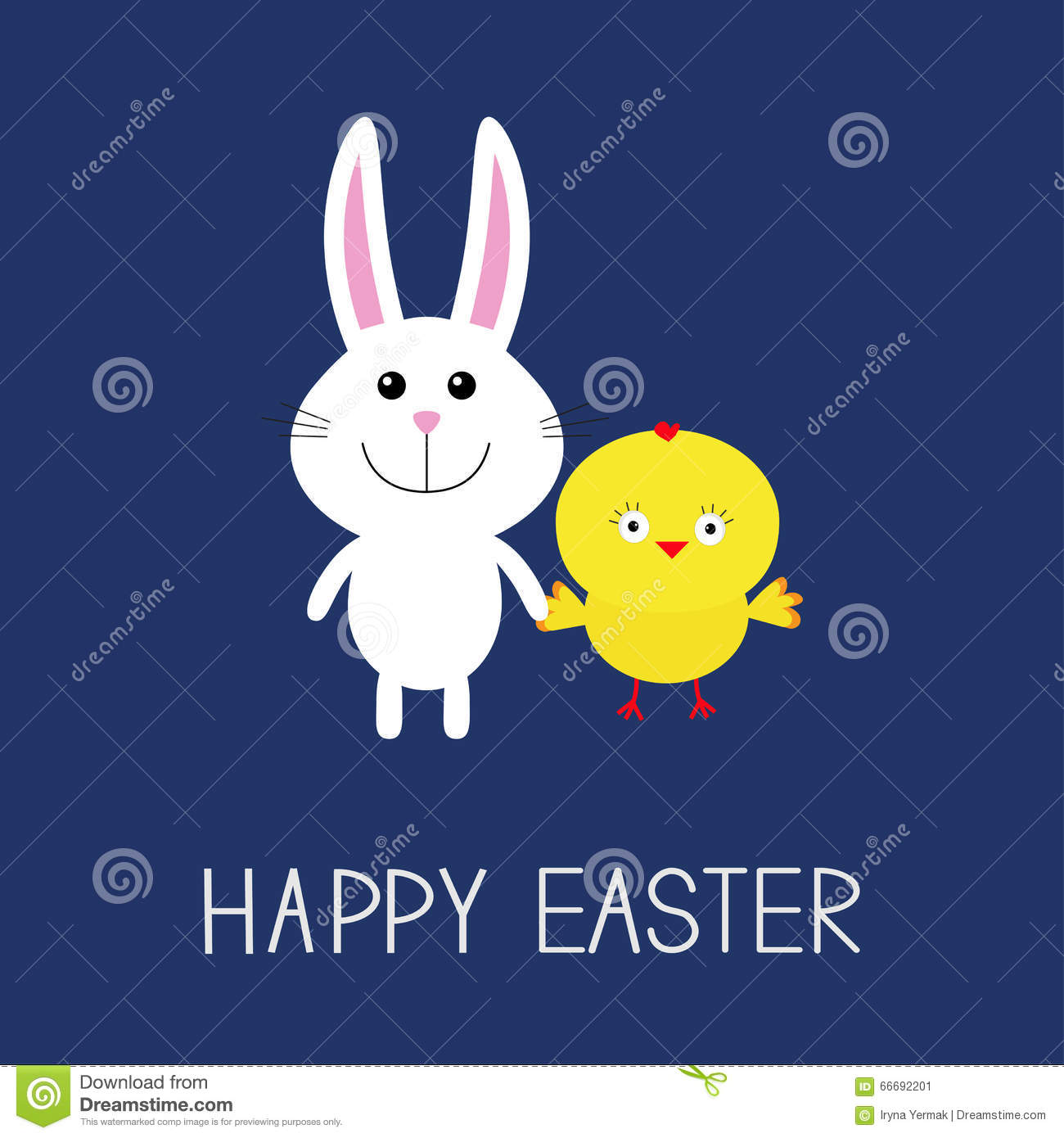 Happy Easter. Cute Bunny Rabbit And Chicken. Round Frame ...