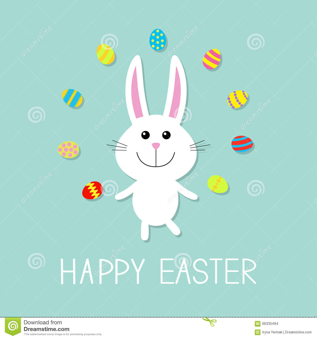 Happy Easter. Cute Bunny Rabbit Juggles Egg. Flat Design ...