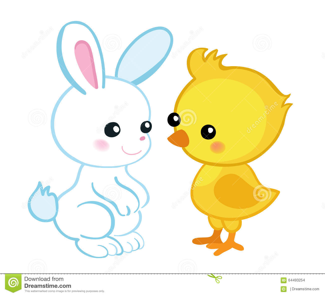 Happy Easter. Cute Easter Bunny And A Cute Chick. Stock ...