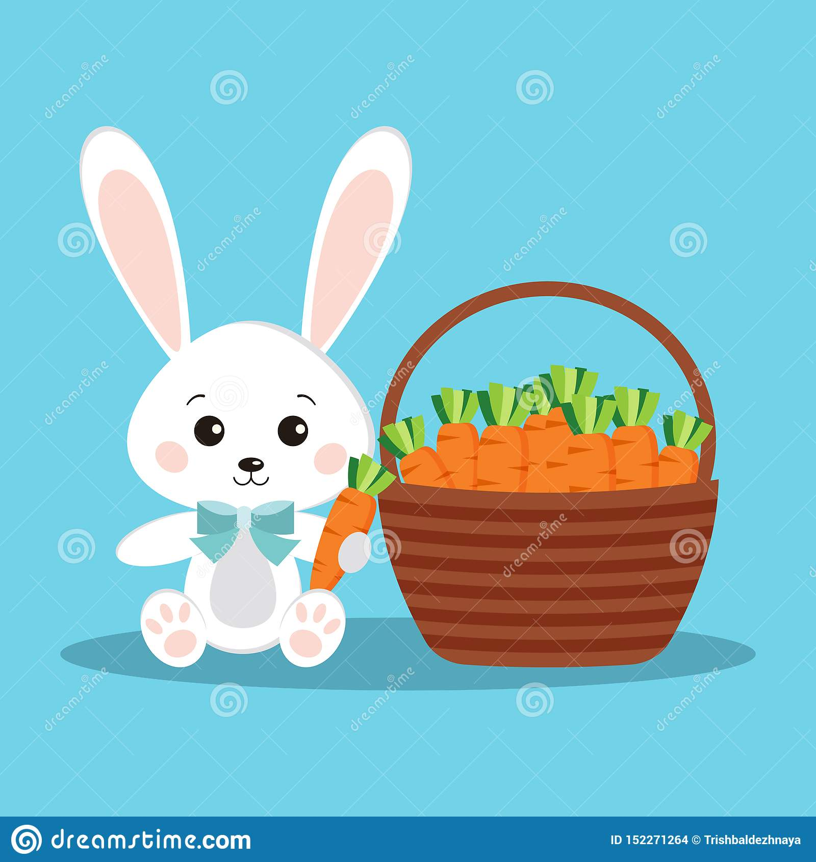 Happy Easter cute and sweet white bunny rabbit with carrot