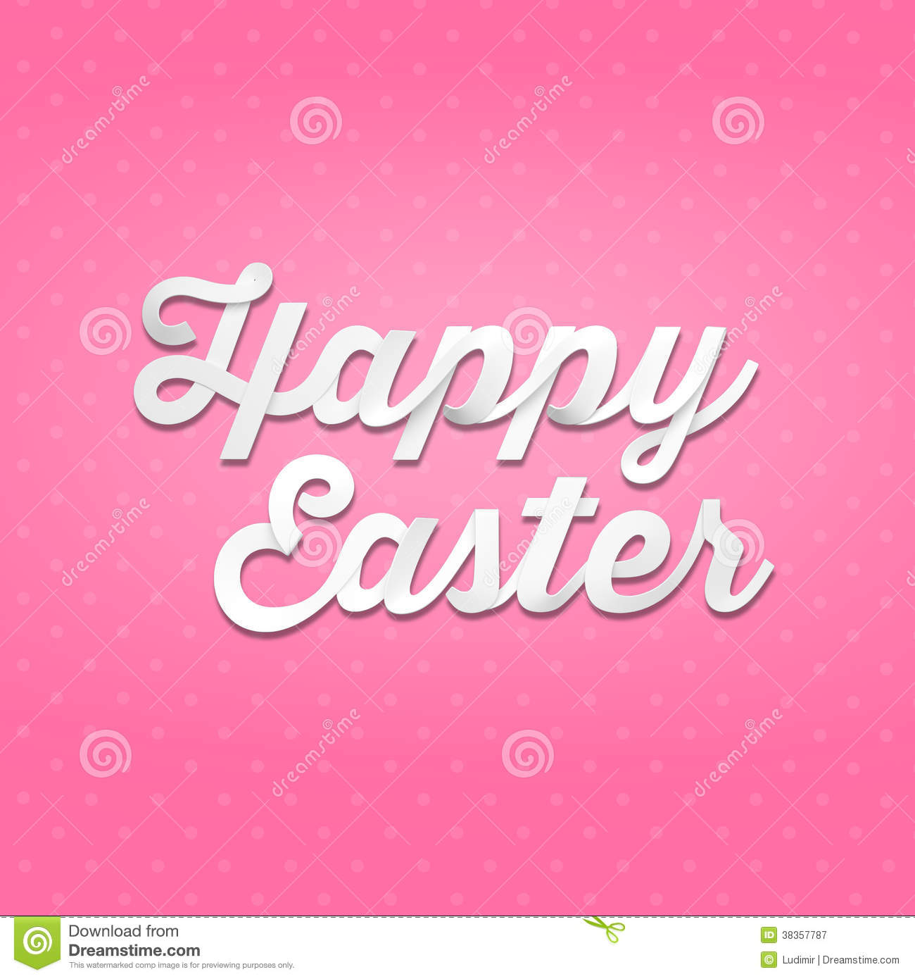 Download Happy Easter 3D Handwriting Type On Pattern Background Stock Illustration