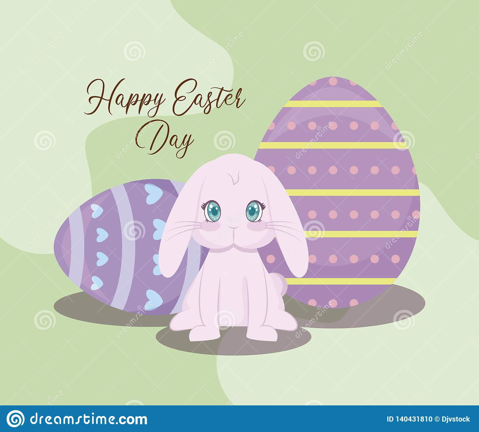 Happy Easter Day Card With Cute Rabbit And Eggs Stock Vector Illustration Of Greeting Event 140431810
