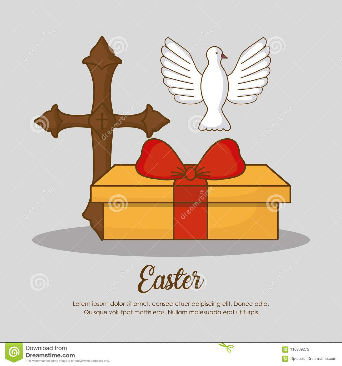 Happy Easter Day Design Stock Vector Illustration Of Crucifixion