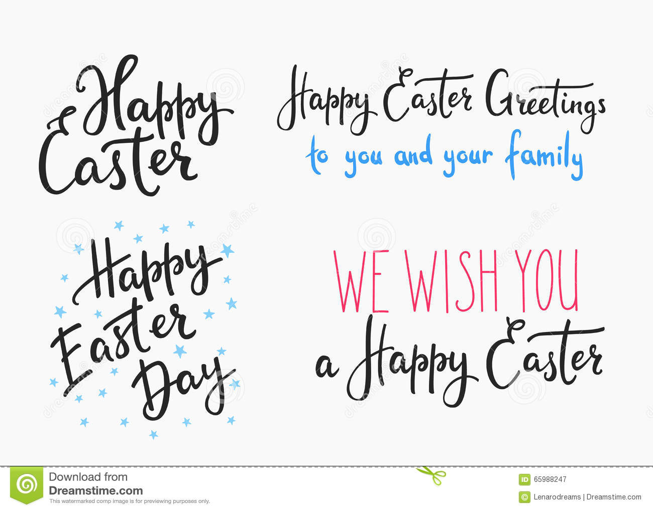Happy easter day simple lettering stock illustration