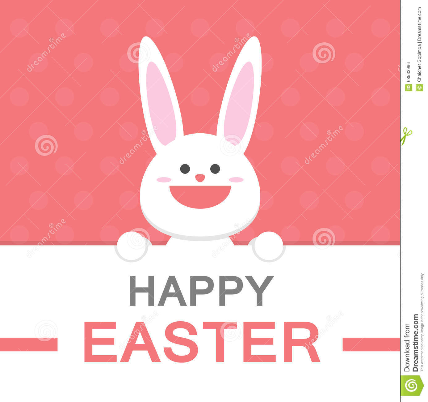 Happy Easter Day Smile Bunny Cartoon Vector Greeting Card Template – Easter Greeting Card Template