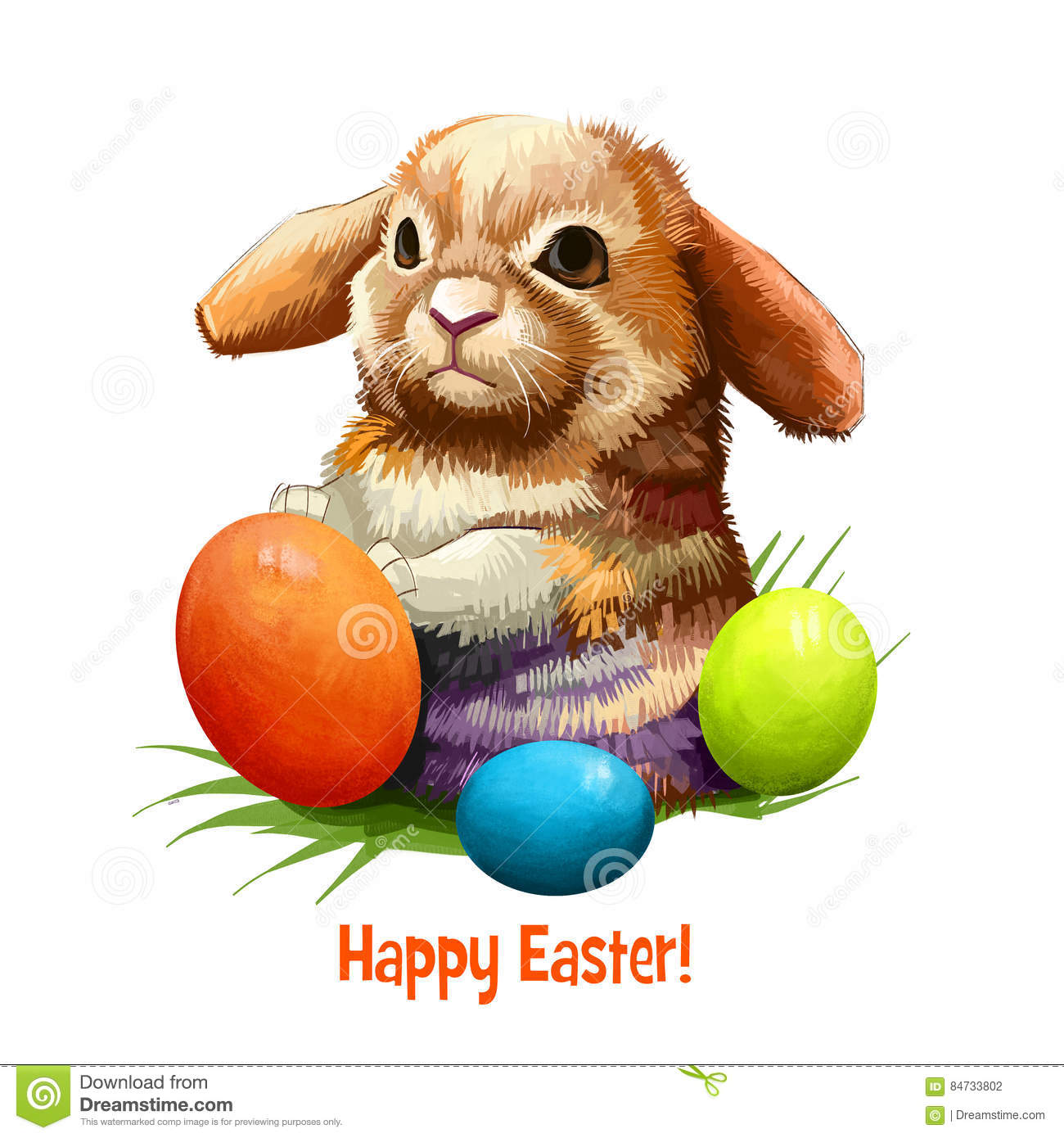 Happy Easter Card Illustration With Bunny Rabbit Vector