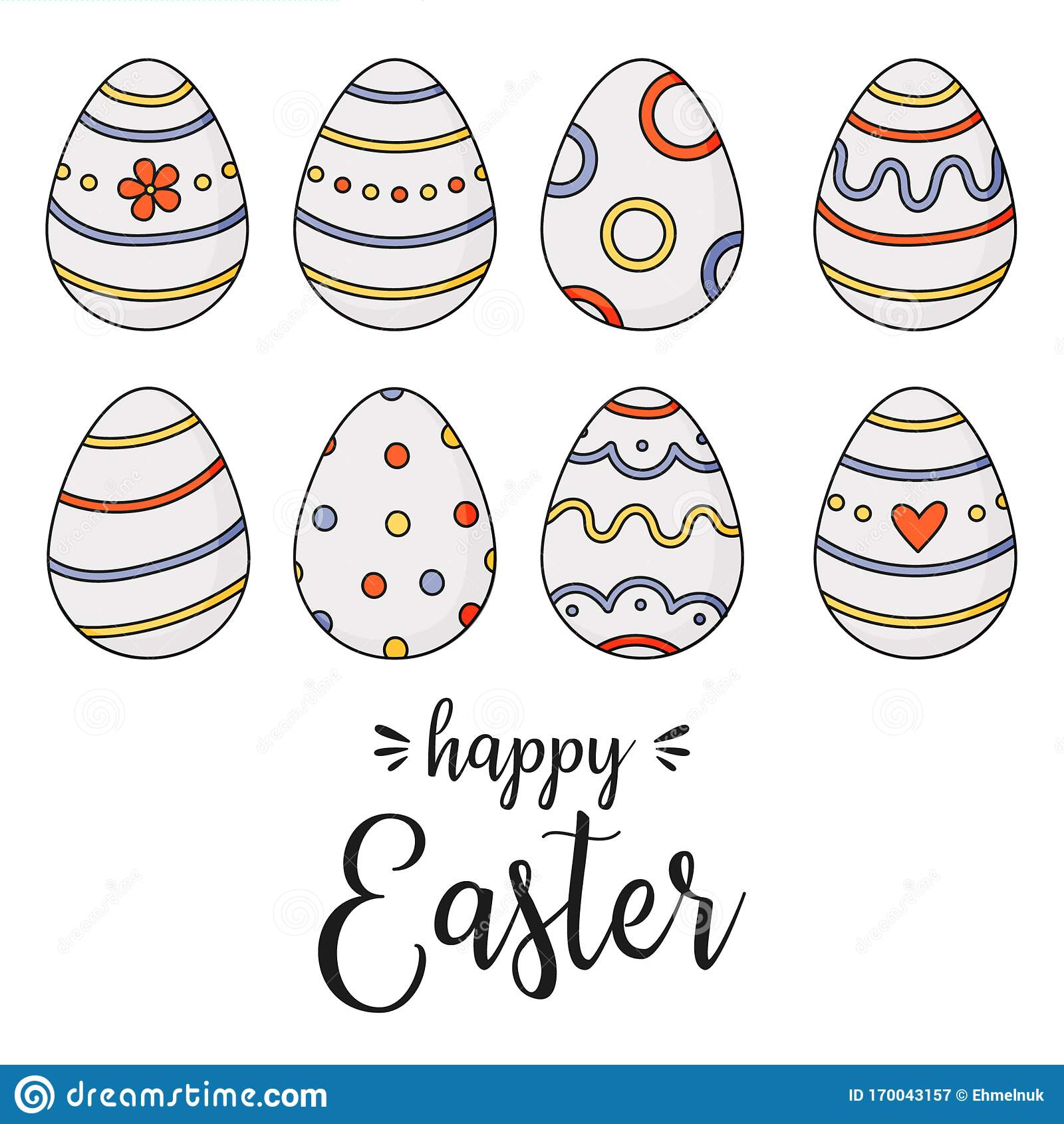 happy easter doodle easter eggs stock vector