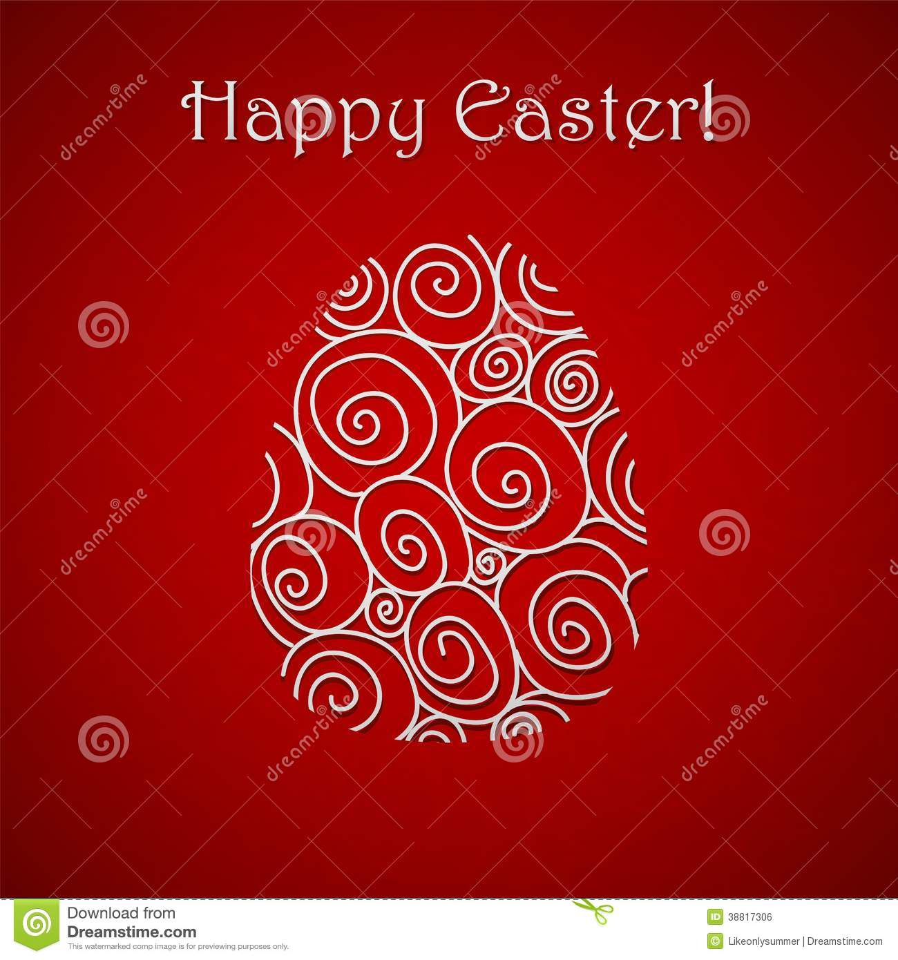 Happy Easter Doodle Simple Red Greeting Card Stock Vector