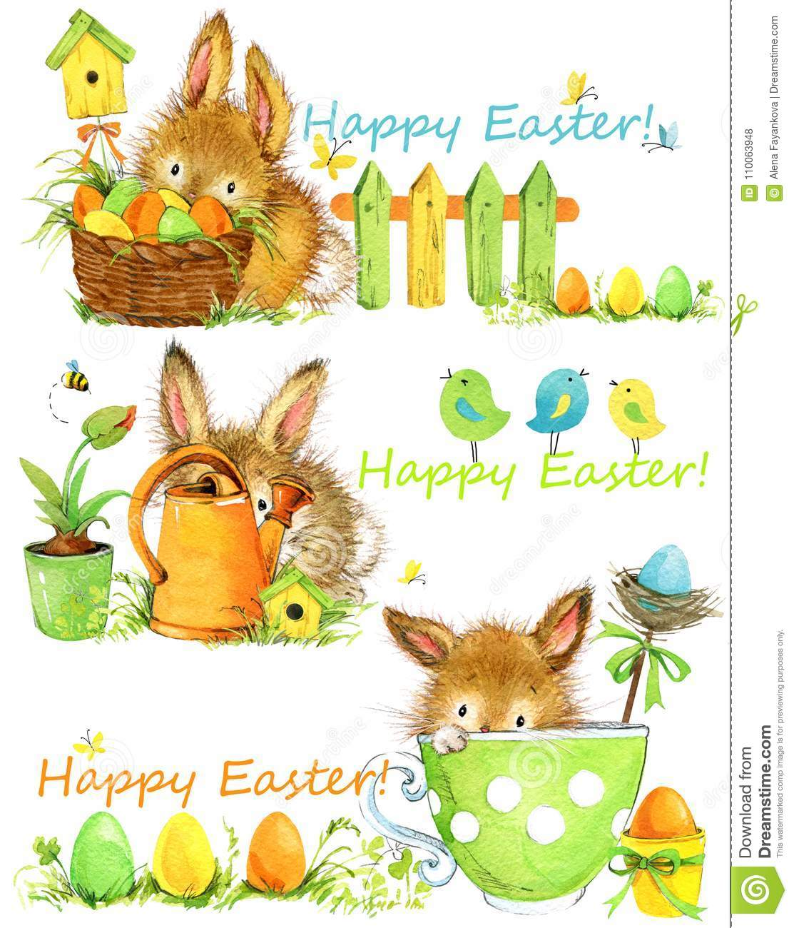 Happy Easter. Easter elements Set of banners. cute bunny hand draw watercolor illustration