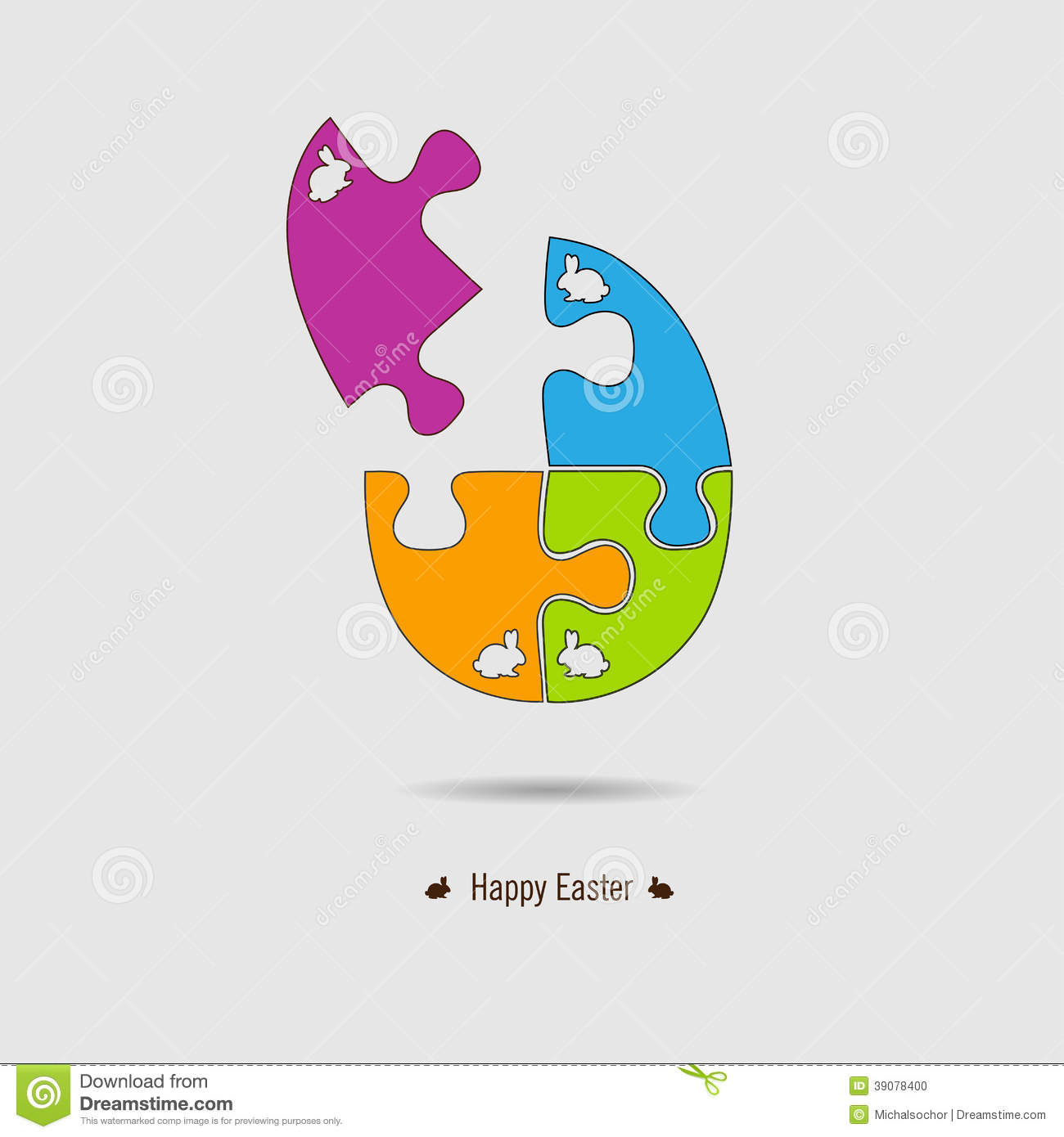 Happy Easter Eff Card. Puzzle. Stock Vector - Image: 39078400