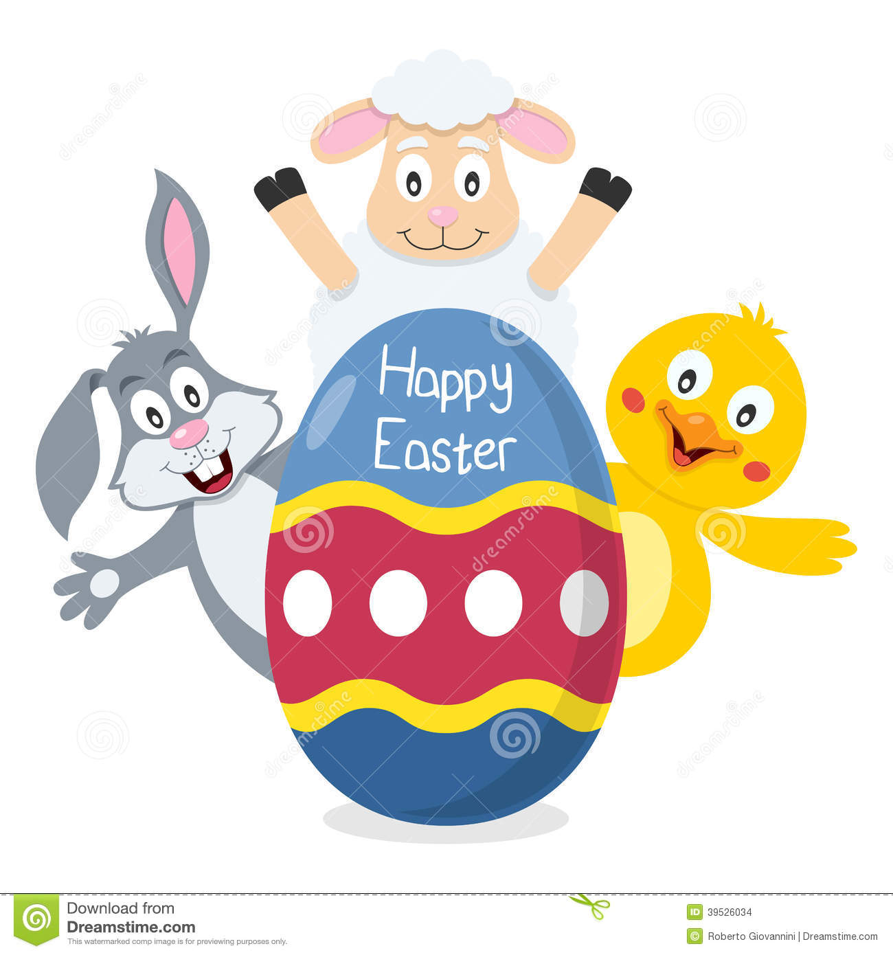 Stock Images Happy Easter Egg Animals Bunny Rabbit Lamb Cute Chick Lurking Behind Big Useful Also As Greeting Card Eps File Image39526034