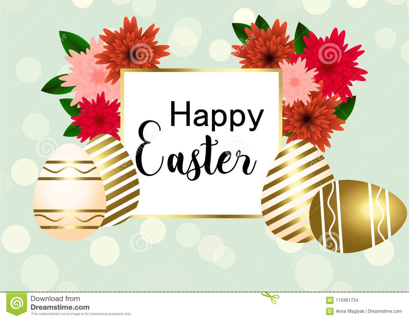 happy easter egg with flowers ribbon happy easter template with