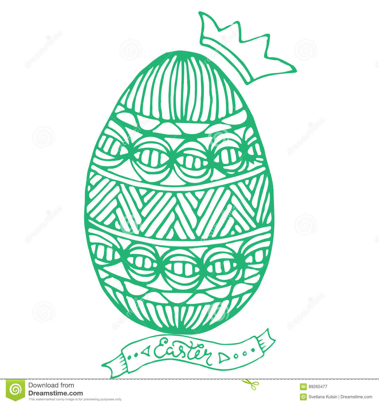 Happy Easter Egg For Greeting Card, Doodle Style. Coloring Page ...