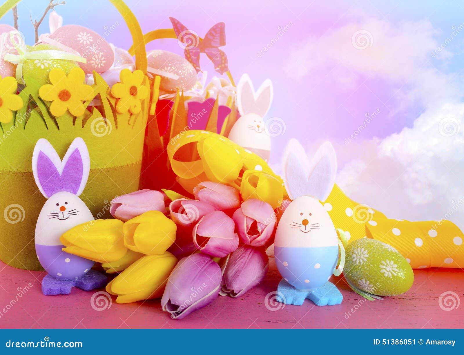 happy easter bunnies flowers - photo #25