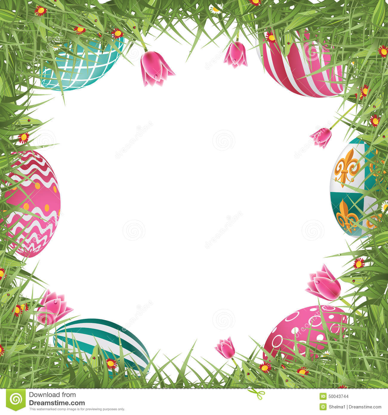 Happy easter egg hunt frame with grass and tulips stock illustration happy easter egg hunt frame with grass and tulips maxwellsz