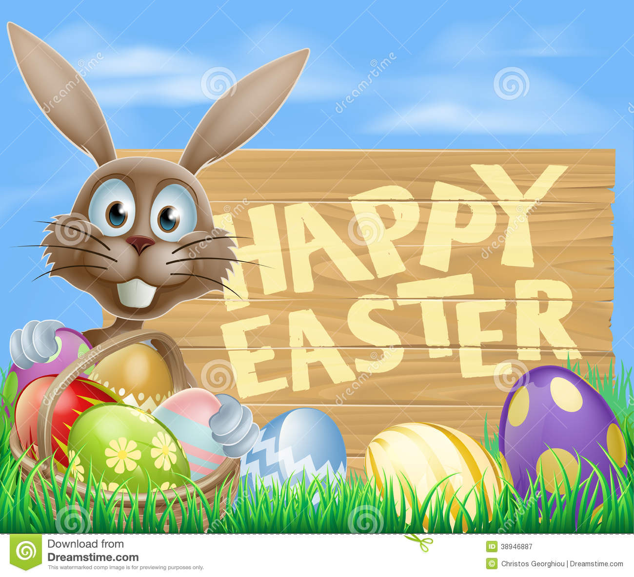 Happy Easter Eggs Basket Bunny Stock Vector - Illustration of hare ... for Easter Eggs In A Basket With A Bunny  545xkb
