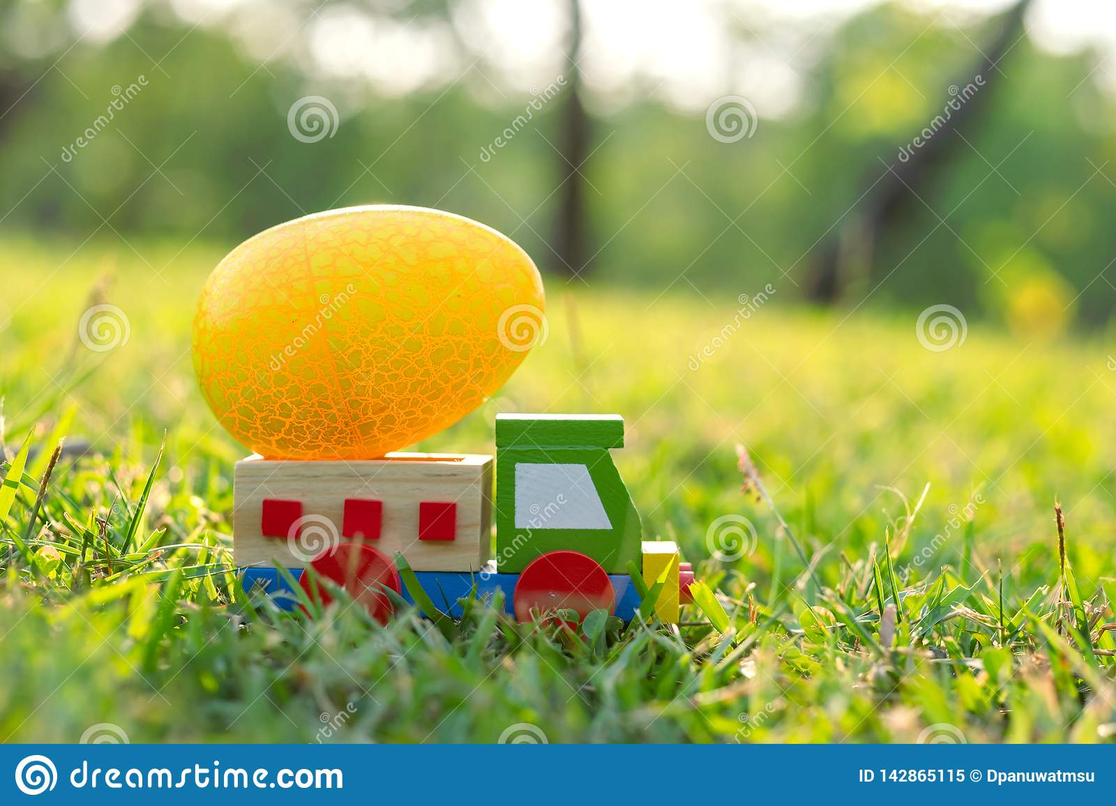 Happy Easter with  Eggs cute bunny and car in the morning, Funny decoration in grass spring season
